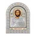 Икона Иисус Христос.Шелкография, оклад из алюминия с патиной. Основание из кожи под стеклом.