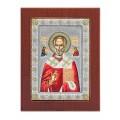 Икона Николай Чудотворец.Шелкография, оклад в серебре. Основание из дерева.Византийская.