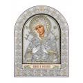 Икона Божьей Матери Семистрельная (Умягчение злых сердец).Шелкография, оклад из алюминия с патиной. Основание из кожи под стеклом.