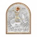 Икона Георгия Победоносца.Шелкография, оклад из алюминия.Класическая серия-овальная основа пластик с ножкой.