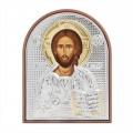 Икона Христос Спаситель. Шелкография, оклад из алюминия.Класическая серия-овальная основа пластик с ножкой.