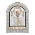 Икона Святого Нектария.Шелкография, оклад из алюминия с патиной. Основание из кожи под стеклом.