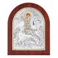 Икона Георгия Победоносца.Шелкография,оклад из алюминия.Класическая серия-овальная основа дерево с ножкой.