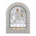 Икона Дмитрия Солунского.Шелкография, оклад из алюминия с патиной. Основание из кожи под стеклом.