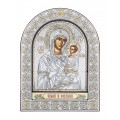 Икона Божьей Матери Иверская.Шелкография, оклад из алюминия с патиной. Основание из кожи под стеклом.