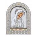 Икона Божьей Матери Мария.Шелкография, оклад из алюминия с патиной. Основание из кожи под стеклом.