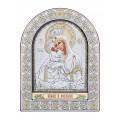 Икона Божьей Матери Почаевская.Шелкография, оклад из алюминия с патиной. Основание из кожи под стеклом.