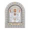Икона Божьей Матери Неупиваемая Чаша.Шелкография, оклад из алюминия с патиной. Основание из кожи под стеклом.