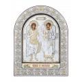 Икона Архангелы Михаил и Гавриил.Шелкография, оклад из алюминия с патиной. Основание из кожи под стеклом.