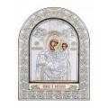 Икона Божьей Матери Сладкое Лобзание. Шелкография, оклад из алюминия с патиной. Основание из кожи под стеклом.