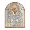 Икона Матрона Московская. Шелкография, оклад из алюминия с патиной. Основание из кожи под стеклом.