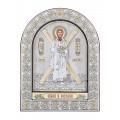 Икона Святого Андрея Первозванного.Шелкография, оклад из алюминия с патиной. Основание из кожи под стеклом.