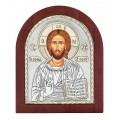 Икона Христос Спаситель.Шелкография,оклад из алюминия.Класическая серия-овальная основа дерево с ножкой.