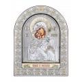 Икона Божьей Матери Владимирская.Шелкография, оклад из алюминия с патиной. Основание из кожи под стеклом.