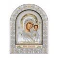 Икона Божьей Матери Казанская. Шелкография, оклад из алюминия с патиной. Основание из кожи под стеклом.