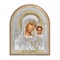 Икона Николай Чудотворец. Шелкография, оклад из алюминия с патиной. Основание из кожи под стеклом.