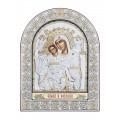 Икона Божьей Матери Достойная Есть.Шелкография, оклад из алюминия с патиной. Основание из кожи под стеклом.