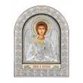 Икона Ангел Хранитель. Шелкография, оклад из алюминия с патиной. Основание из кожи под стеклом.