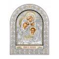 Икона Николая Ярослав.Шелкография, оклад из алюминия с патиной. Основание из кожи под стеклом.