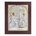 Икона Святое Семейство. Шелкография, оклад из алюминия с патиной. Основание из кожи под стеклом.