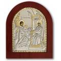 Икона Божьей Матери Благовещение Пресвятой Богородицы. Шелкография, оклад в серебре. Основание из дерева.