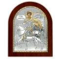 Икона Дмитрия Солунского. Шелкография, оклад в серебре. Основание из дерева.