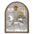 Икона Дмитрия Солунского. Шелкография, оклад в серебре. Основание из пластика.