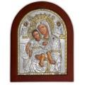 Икона Божьей Матери Достойно Есть. Шелкография, оклад в серебре. Основание из дерева.