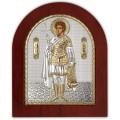 Икона Фанурий Критский. Шелкография, оклад в серебре. Основание из дерева.