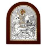 Икона Георгия Победоносца. Шелкография, оклад в серебре. Основание из дерева.