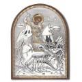 Икона Георгия Победоносца. Шелкография, оклад в серебре. Основание из пластика.