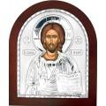 Икона Христос Спаситель. Шелкография, оклад в серебре. Основание из дерева.