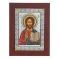 Икона Христос Спаситель. Шелкография, оклад в серебре. Основание из дерева.Византийская.
