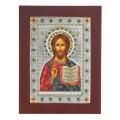 Икона Христос Спаситель. Шелкография, оклад в серебре.Декор камнями Swarovski.Византийская
