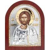 Икона Христос Спаситель. Шелкография, оклад в серебре,золотой декор. Основание из дерева.