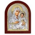 Икона Божьей Матери Иерусалимская. Шелкография, оклад в серебре. Основание из дерева.