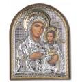Икона Божьей Матери Иерусалимская. Шелкография, оклад в серебре. Основание из пластика.