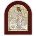 Икона Иоанн Предтеча. Шелкография, оклад в серебре. Основание из дерева.