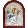 Икона Божьей Матери Иверская. Шелкография, оклад в серебре. Основание из дерева.