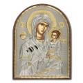Икона Божьей Матери Иверская. Шелкография, оклад в серебре. Основание из пластика.