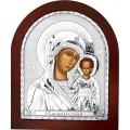 Икона Божьей Матери Казанская. Шелкография, оклад в серебре. Основание из дерева.