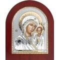 Икона Божьей Матери Казанская. Шелкография, оклад в серебре,золотой декор. Основание из дерева.