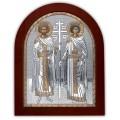 Икона Елена и Константин. Шелкография, оклад в серебре. Основание из дерева.