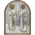 Икона Елена и Константин. Шелкография, оклад в серебре. Основание из пластика.