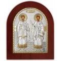 Икона Косма и Дамиан. Шелкография, оклад в серебре. Основание из дерева.