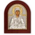 Икона Матрона Московская. Шелкография, оклад в серебре. Основание из дерева.