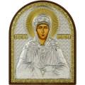 Икона Матрона Московская. Шелкография, оклад в серебре. Основание из пластика.