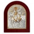 Икона Святой Минас. Шелкография, оклад в серебре. Основание из дерева.