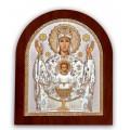 Икона Божьей Матери Неупиваемая Чаша. Шелкография, оклад в серебре. Основание из дерева.