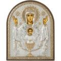 Икона Божьей Матери Неупиваемая Чаша. Шелкография, оклад в серебре. Основание из пластика.